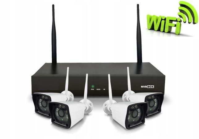 Zestaw 4 kamer bezprzewodowych WIFI do monitoringu domu, sklepu, firmy