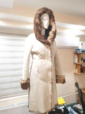 Kurtka płaszcz zimowy damskie futerko kożuszek rozmiar S