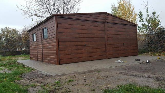 Garaż blaszak blaszaki PRESTIGE 6x6 ZŁ Dąb Orzech Garaże drewnopodobne