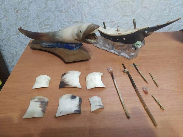 Сувенир из рога СССР.Рыба,корабль.под востановление.