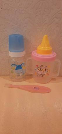 Бутылочка для кормления Canpol babies, поильник непроливайка, щеточка
