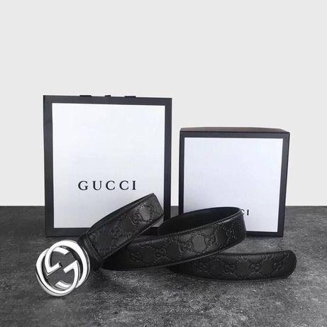Мужской кожаный ремень Gucci в подарочном наборе чоловічій ремінь