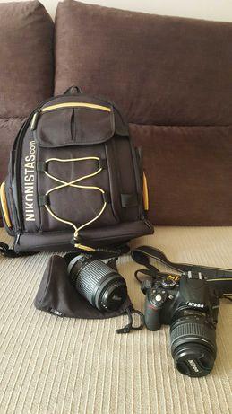 Nikon D3100+objetivas+ adaptador+mochila