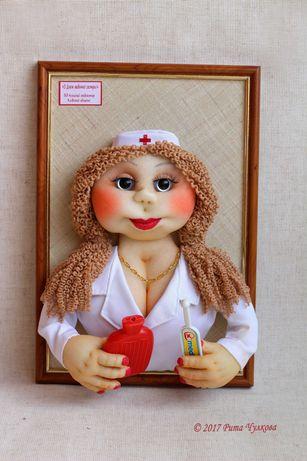 Портрет медсестра кукла Доктор Врач панно Подарок день рождения картин