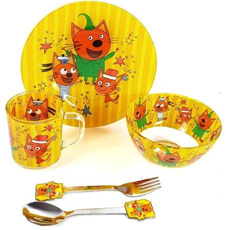 Детский набор посуды из стекла Три кота, Леди Баг, Фиксики, Смешарики