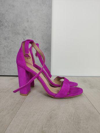 Sandałki na obcasie, kolor fuksja, Marshall, rozmiar 39