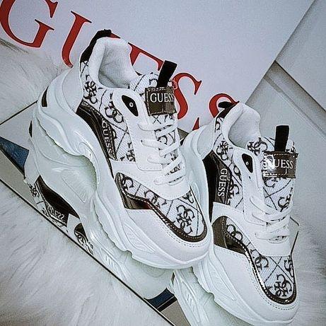 Buty sneakersy GUESS  36-39 napisy wzory  białe