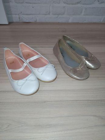 Baleriny H&M 27 białe, baleriny Capcake 27 złote, wkładka 17 cm