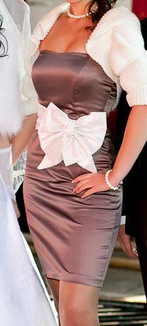 Атласное коктельное платье