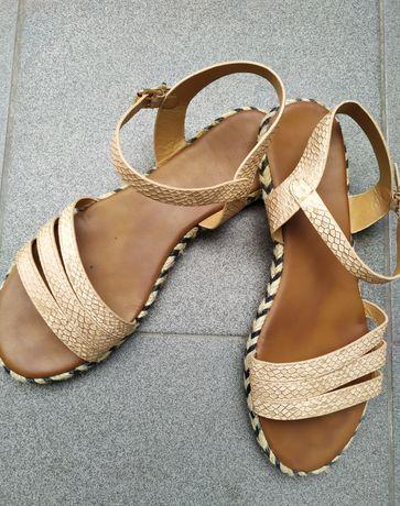Sandały sandałki złote brązowe