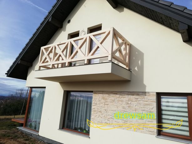 balustrada drewniana ogród balkon taras wzór X