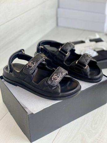 Сандали шанель босоножки женские chanel dad sandals натуральная кожа