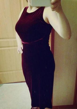 Вечернее платье из велюра королевский пурпур S-L размер