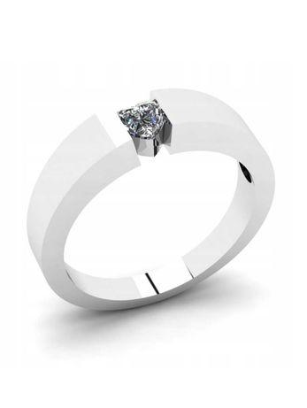 Pierścionek białe złoto zaręczynowy serduszko