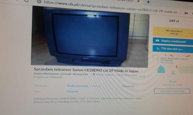 Telewizor Sanyo 28 made in Japan kineskop Panasonic made in Germany