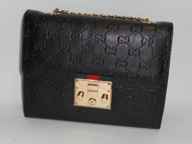 GUCCI luksusowa czarna torebka kopertówka damska z łńcuszkiem