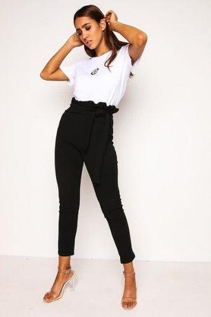 Черные женские брюки штаны с высокой талией посадкой и бантом с рюшами