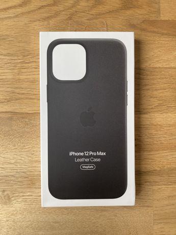 Оригинальный чехол Apple iPhone 12 Pro Max Leather Case Black (MHKM3)