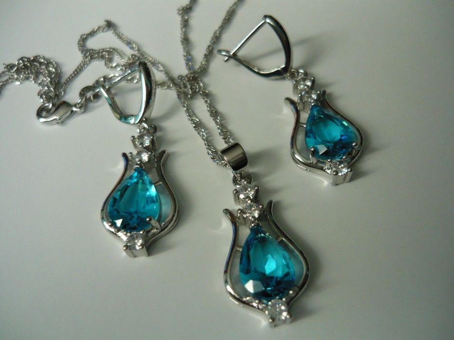 Wyprzedaż ! Komplet biżuterii pr.925 niebieski Siedlce - image 1