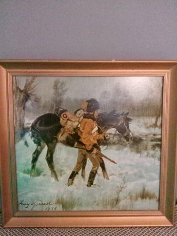 Huzar z koniem oleodruk stary obraz