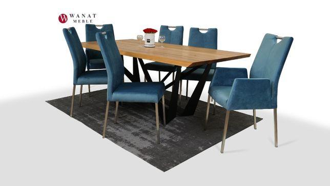 Komplet Stół Lite Drewno Krzesła Tkanina Welur