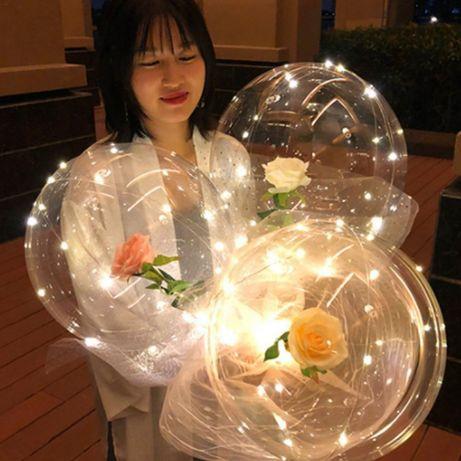 Светящиеся Шары Бобо с 3Д розой большой
