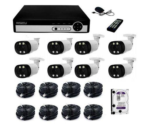 Zestaw Do Monitoringu 4/8 kamer IP POE 5 MPX 2TB LED Detekcja twarzy