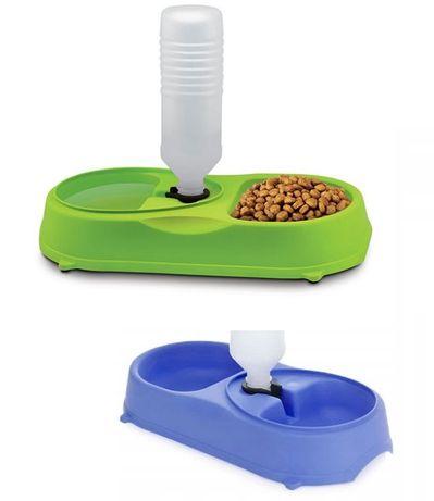 Miska z dozownikiem wody - dla psa lub kota , podwójna, niebieska