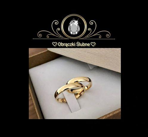 Para Tradycyjnych Złotych Obrączek Ślubnych