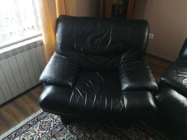 komplet wypoczynkowy skórzany, kanapa skórzana, fotel skórzany.