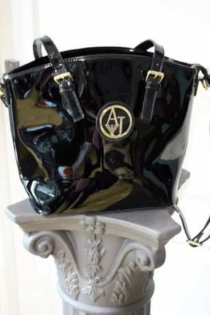 Czarna duza skorzana lakierowana torebka Armani Jeans oryginalna