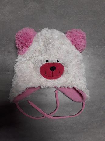 Ciepła czapeczka wiązana z polarkiem misiek z pomponami czapka