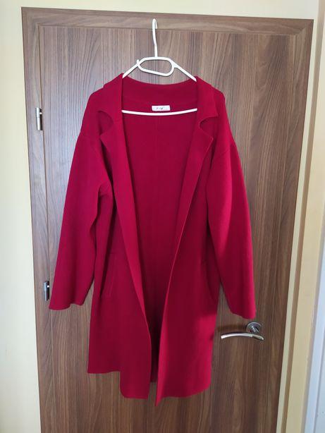 Piękna narzutka płaszczyk sweter długi malinowy - r. XL/XXL nowy