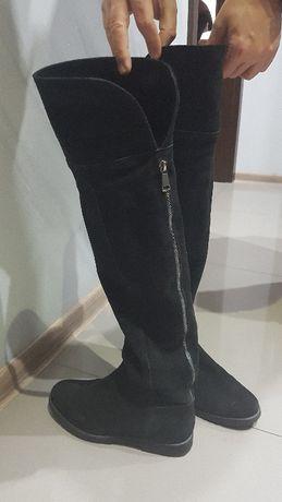 Kozaki za kolano ocieplane futrem ze skóry naturalnej By o la la