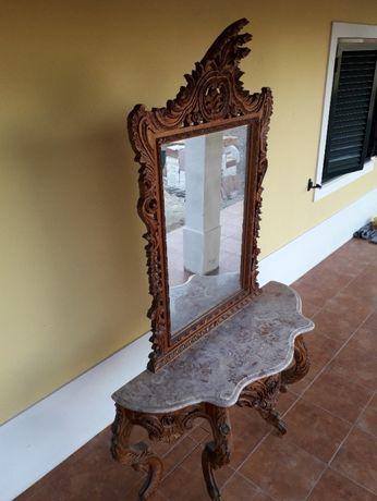 mesa com espelho nogueira trabalhada peça unica