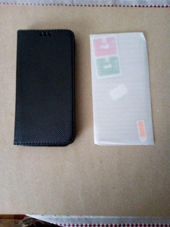 Pokrowiec etui Motorola e 6 plus czarne + szkło hartowane