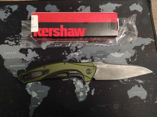Нож KAI Kershaw Bareknuckle 7777 Olive Handle Stonewash Blade оригинал