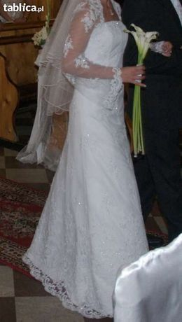 Piękna suknia ślubna z koronki włoskiej 36 + bolerko
