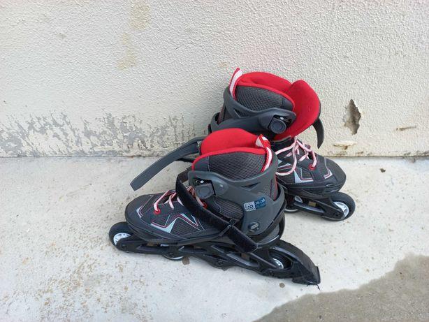 Vendo patins em linha com luvas em bom estado