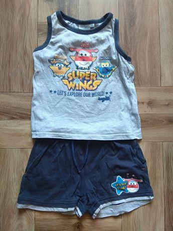 Komplet spodenki bluzeczka super Wings chłopięcy dla chłopca an lato