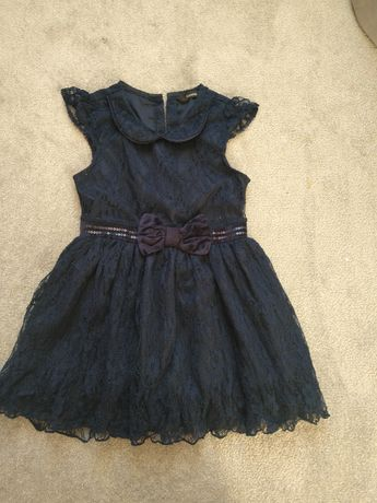 Granatowa sukienka koronkowa 104 do 110 116 koronka galowa wizytowa