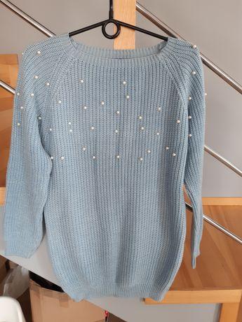 Sweter niebieski z perelkami L