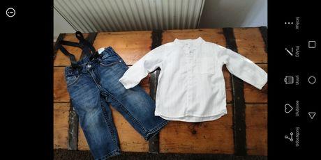 Koszula i spodnie na szelkach h&m 6-9 74