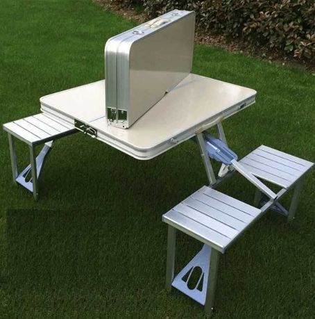 стол с защелкой, алюминиевый - раскладной по-домашнему / + 4 стула /