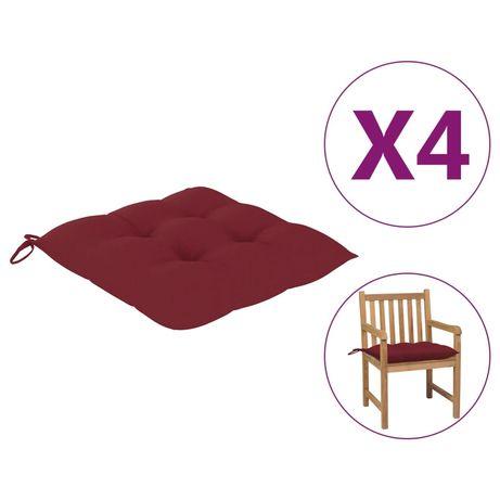 vidaXL Almofadões de cadeira 4 pcs 50x50x7 cm tecido vermelho tinto 314924