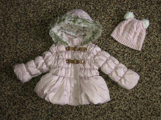 Стильный комплект-зимняя куртка и шапка девочке, рост 86