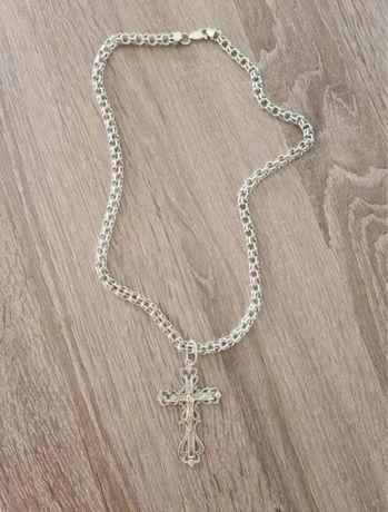 Продам серебрянную цепь с крестом  60 гр.