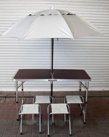 УСИЛЕННЫЙ стол для пикника + 4 стула + ЗОНТ. Раскладной столик рыбалки