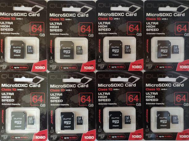 Карта Памяти Micro SD QUMO 64 GB Class10 + Адаптер, Новые!