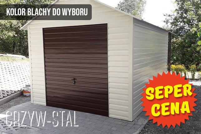 Garaż/domek ogrodowy z drewutnią, altana blaszana z dodatkową wiatą